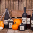 Potion bottles with pumpkins — Stok fotoğraf