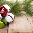 Christmas Jingle bells and a pine branch  — Stock Photo