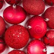Red Christmas ornaments for background — Stock Photo