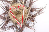 Candy canes in the shape of a heart on a nest — Photo