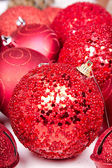 Group of red Christmas ornaments — Stock Photo