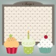 Retro cupcake recipe card, menu, or birthday invitation — Stock Vector