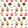 Retro cupcakes seamless pattern — Stock Vector