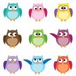 Group of nine owls in different colors — Stock Vector