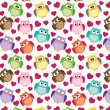 Seamless owl pattern with hearts — Stock Vector #41516183