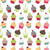Retro cupcakes seamless pattern — Stok Vektör