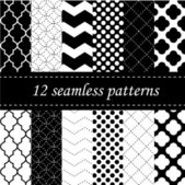Twelve seamless geometric patterns — Stock Vector