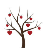 Hearts hanging from a tree — 图库矢量图片