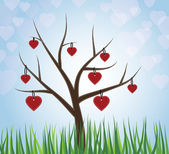 Hearts hanging from a tree — Vector de stock