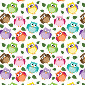Seamless owl pattern with leaves — Stock Vector