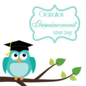 Owl with graduation cap sitting on branch — Stock Vector