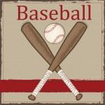Vintage baseball and wooden bat — Stock Vector #46657009