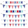 Banner, bunting or flags in red white and blue patriotic colors — Stock Vector #46657017