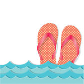 Ocean waves with flip flops or sandals — Vector de stock