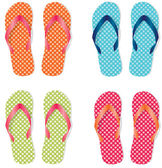 Group of four flip flops or sandals — Vector de stock
