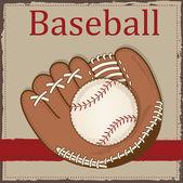 ретро бейсбол и бейсбольная перчатка или рукавицей — Cтоковый вектор