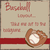 Vintage baseball and glove or mitt layout for scrapbooking — Vector de stock