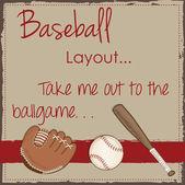 ретро бейсбол, перчатка или mitt и деревянной битой — Cтоковый вектор