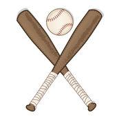 Vintage beisebol e taco de madeira — Vetor de Stock