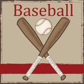 Vintage baseball  and wooden bat — Cтоковый вектор