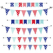 Banner, bunting or flags in red white and blue patriotic colors — Stock Vector