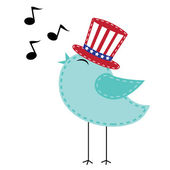 Patriotic bird wearing uncle sam hat singing with notes — Stock Vector