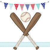 Baseball and bat with american patriotic banners and frame — Stock Vector