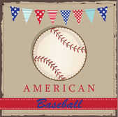 Vintage baseball layout with american patriotic flags or bunting — Stock Vector