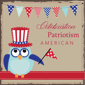 Owl wearing patriotic uncle sams hat — Stock Vector