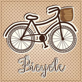 Retro or vintage bicycle with a basket — Stock Vector