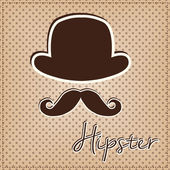 Bowler hat and mustache — Stock Vector