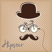 Man made of hipster elements, bicycle, bowler hat and mustache — Stock Vector