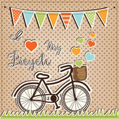 Retro or vintage bicycle with hearts — Stock Vector