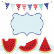 Three slices of watermelon and bunting or flags, with frame — Stock Vector #49239659