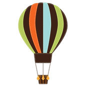 Vintage or retro hot air balloon on transparent background — Stock Vector