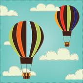 старинные или ретро воздушный шар в небе с облаками — Cтоковый вектор