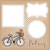 Vintage bicycle with bread for bakery layout, with vintage lace — Stock Vector
