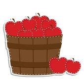 Apples in a barrel or basket — Stock Vector