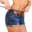 Woman measuring perfect shape of beautiful waist — Stock Photo