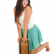Girl with vintage suitcase — Stock Photo