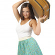 Stock Photo: Girl with vintage suitcase