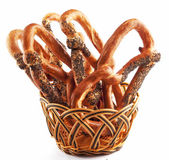 Basket with a pretzel — Stock fotografie