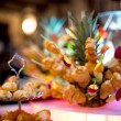 Diversity of pastry decorated with fruits and cookies at wedding — Stock Photo