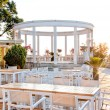Beautiful restaurant with terrace on ocean shore — Stock Photo