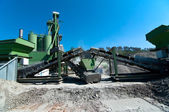 Cement mobile facility on construction site — Stock Photo