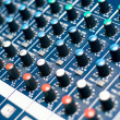 Music mixer in studio, close-up of audio controls — Stock Photo
