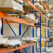 Modern warehouse with colorful interior shelves  — Stock Photo