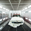 Car paint garage with car inside — Stock Photo #32177655