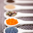 Detail of poppy seeds in wooden spoon, set of ingredients and spices for aromatic foods — Stock Photo