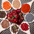 Colorful mix of spices with poppy seeds, pepper corn, black pepper, tarragon, hot chili peppers and mustard seeds — Stock Photo